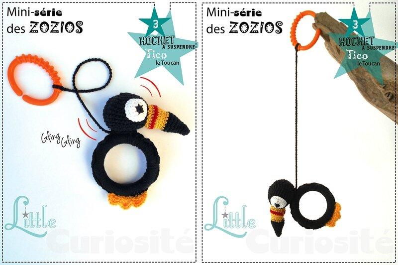 Cadeaux de naissance - Hochet ZoZio à suspendre au Crochet - Oiseaux colorés crochetés - Tico le Toucan - fait main Made in France