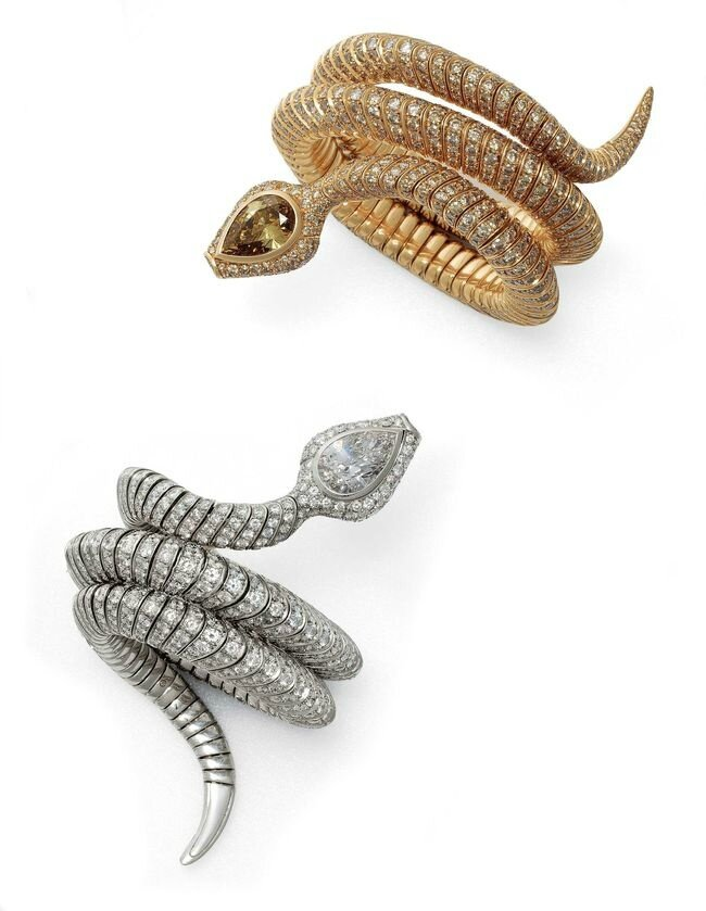 Diamond and Gold Serpent Bracelets, by Hemmerle