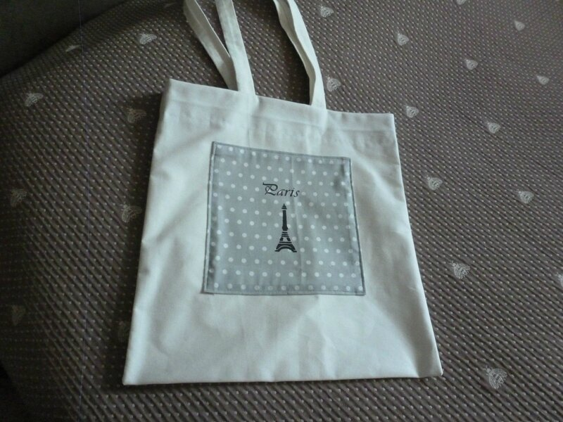 tote-bag pois gris paris