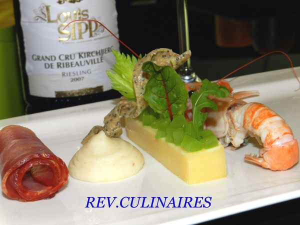 Langoustine et vieux comt,croquant de cleri branche