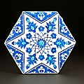 Rare iznik hexagonal tile, turkey, circa 1540-1545