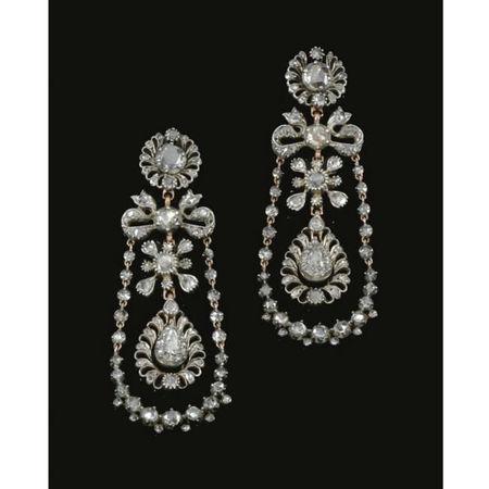 Pair of diamond pendent earrings, circa 1800