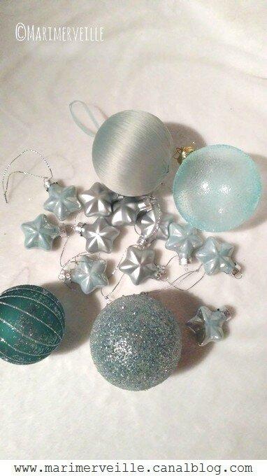 décorations de Noël givré vert d'eau - Marimerveille