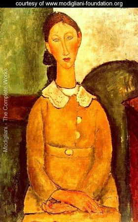Modigliani - Fillette en robe jaune 1917