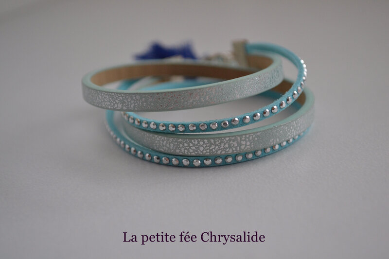 Braceletdouble tour bleu clair
