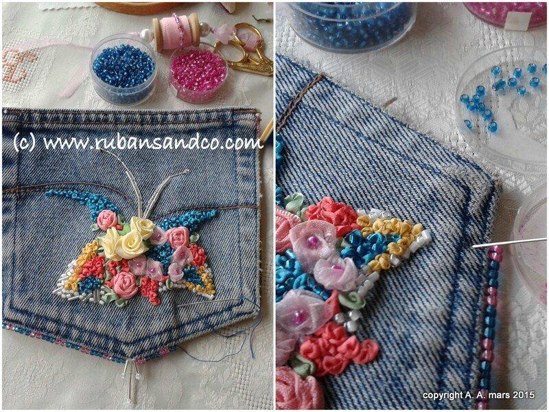 pochette en jean brodée au ruban de soie
