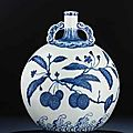 A very rare ming-style blue and white moonflask, bianhu. yongzheng period (1723-1735)