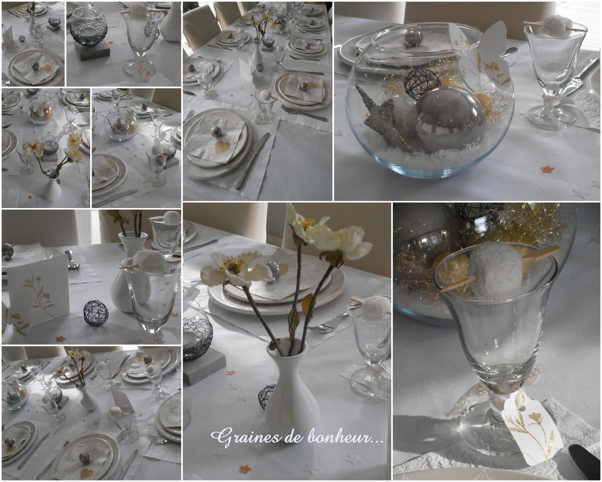 Deco table noel blanc - Decoration de table de noel argent ...