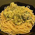 Spaghetti aux brocolis sauce au cheddar