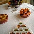 Recettes du buffet: gaspacho et soupe petits pois au thermomix