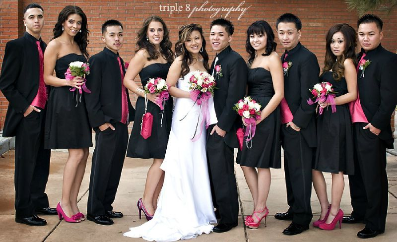 bridesmaids in black gowns (from davids bridal) and red heels ...