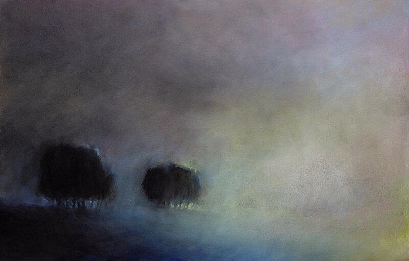 ghostrees 2, aout 2017, pastel à l'huile, 48 x 32 cm