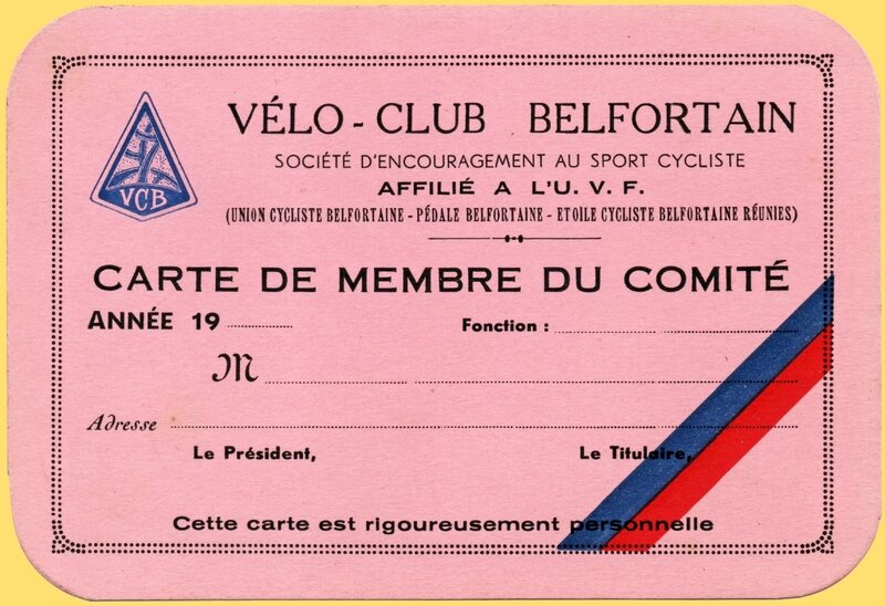 Carte Membre Vélo Club Belfort
