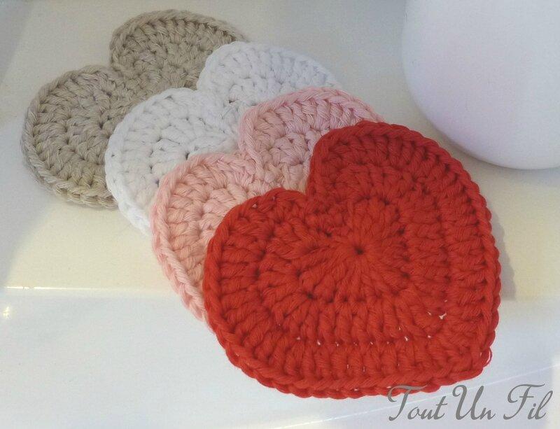 Coeur Disques démaquillants Zéro déchet Ecolo assortiment Crochet