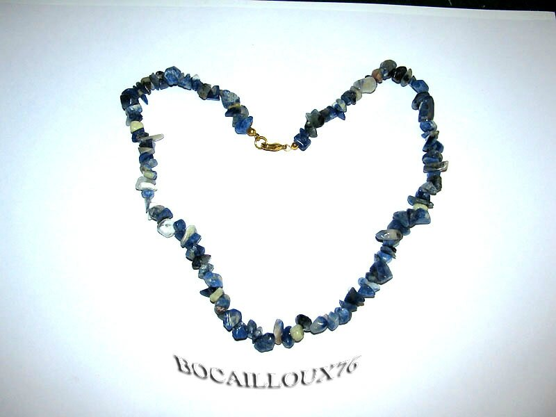 COLLIER SODALITE 9 - ATTACHE MOUSQUETON DORE
