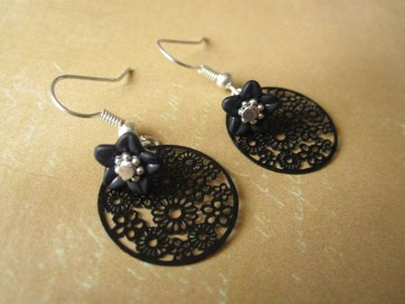 Boucles d'oreille filigrane noir fleur lucite (2)