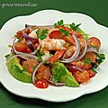 Salade de crevettes, pamplemousse et avocat au piment