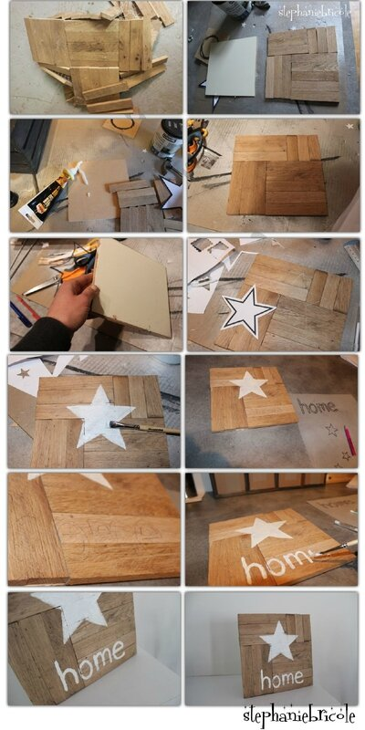 diy d co r cup une d co murale avec des petites planches de parquet st phanie bricole. Black Bedroom Furniture Sets. Home Design Ideas