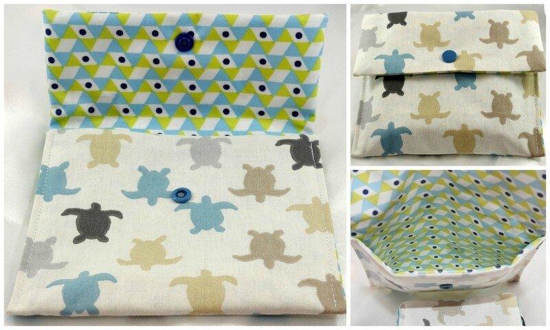 pochette à lingettes tortues beiges et bleues