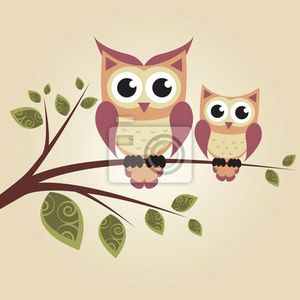 papier-peint-two-owls-on-the-tree-adorable