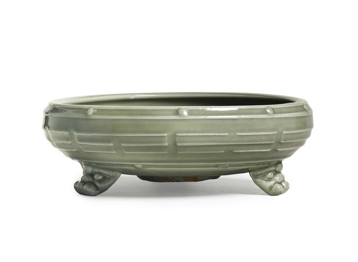 A 'Longquan' celadon  'eight Trigrams' tripod censer, Late Yuan - Early Ming dynasty