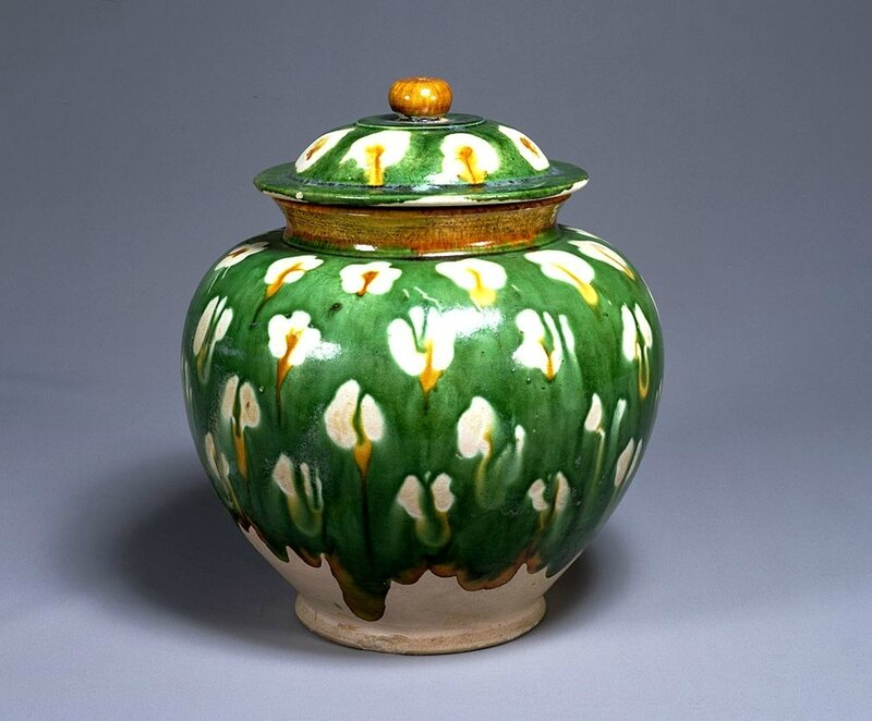 Three-color glazed jar with plum blossom design, Tang Dynasty, 8th century