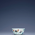 A fine and rare doucai 'Chicken' cup, Yongzheng six-character mark in underglaze blue in a double square and of the period (1723-1735)