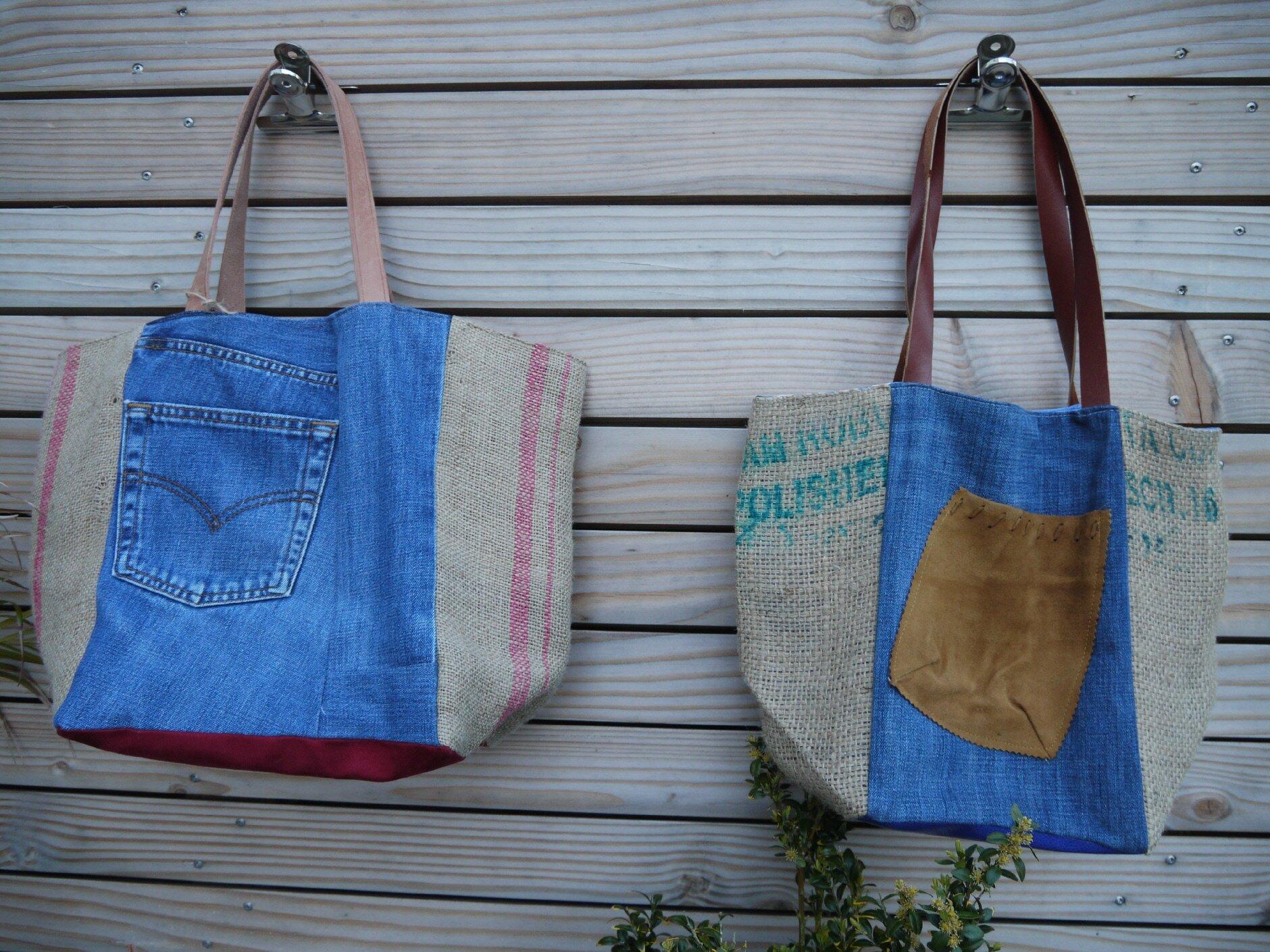 nouveaux sacs upcycling toile de jute de sac caf et toile de jeans recycl s l 39 atelier. Black Bedroom Furniture Sets. Home Design Ideas