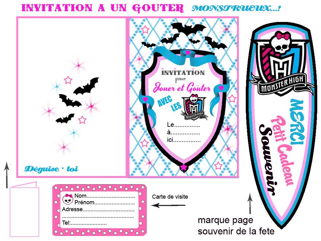 carte invitation a imprimer monster high