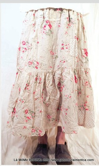 1-MP skirt french cotton Cecily skirt flannel lining patches raspberry rose