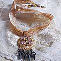 Collier pendentilf Pampilles beige et marron 13-1