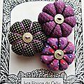 ♥ melia ♥ broche textile japonisante fleurs potirons - les yoyos de calie