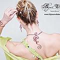 Parure de bijoux mariage originaux : bijoux de mariée en fil marron chocolat (style fil alu), soldes