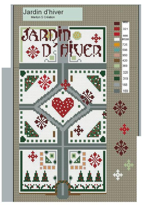 Jardin d\'hiver - au point de croix - - Amies Brodeuses & C