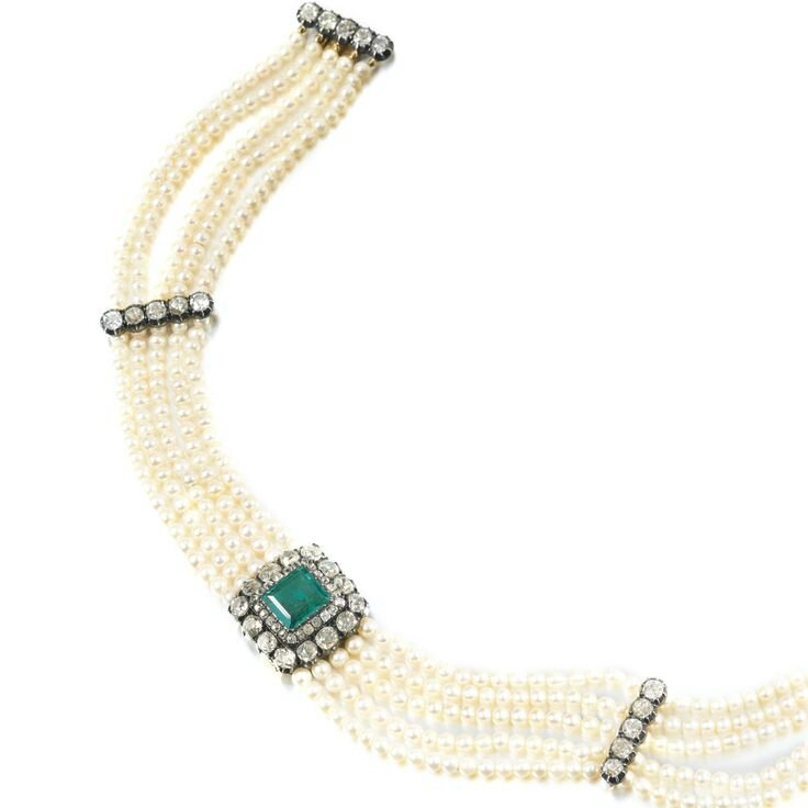 Natural pearl, emerald and diamond choker