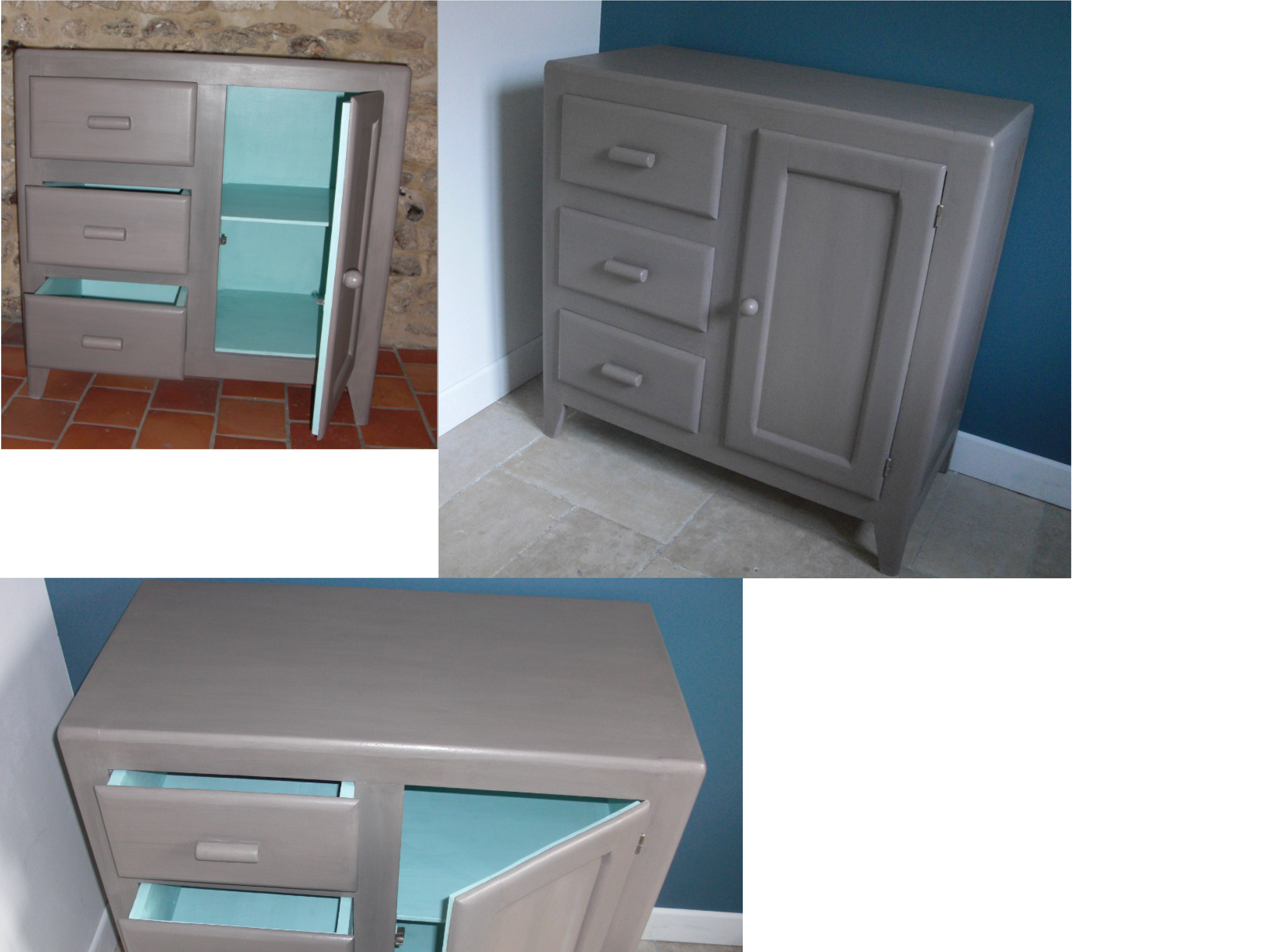 une premi re mise en peinture en taupe et bleu lagon. Black Bedroom Furniture Sets. Home Design Ideas
