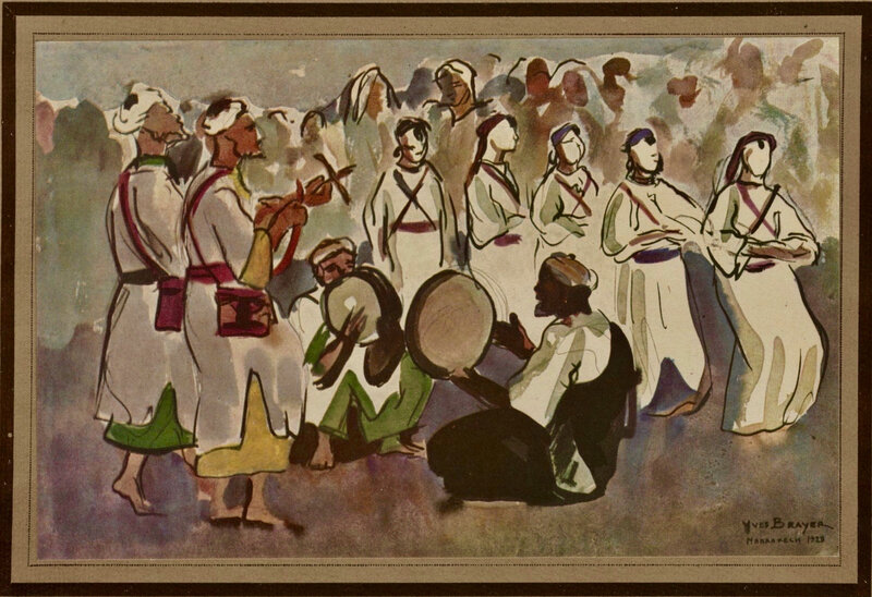 Yves-Brayer-Danseurs_Chleuhs-Djemaa-El-Fna_1928