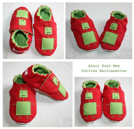 chaussons robots rouge