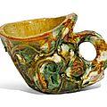 A rare sancai-glazed pottery rhyton, Tang dynasty (618-907)