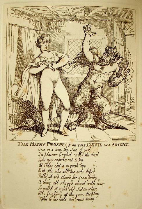 Thomas Rowlandson 1756-1827 The Hairy Prospect of the Devil in a Fight v1810