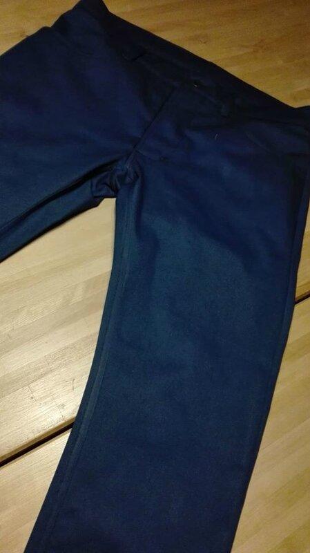 Jeans 4 poches en gabardine bleu pétrole - braguette à boutons (5)