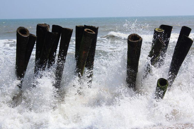 Sur une plage au nord de Pondy