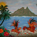 Tableau de sable combat de coqs à tahiti