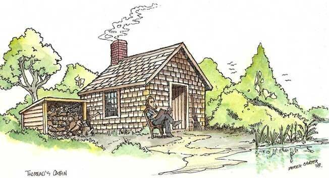 Drawing-Thoreau-Cabin-at-Waldon
