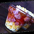 Verrine oeufs durs jambon tomates