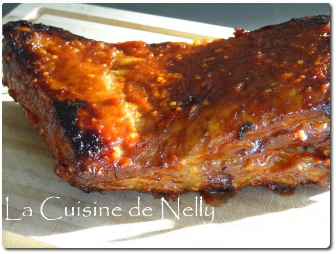 travers de porc ribs sauce barbecue recette au four la cuisine de nelly. Black Bedroom Furniture Sets. Home Design Ideas