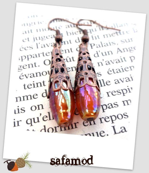 Boucles d´oreilles caps cône cuivre perles gouttes en verre