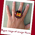 Bague rouge orange nacre (B94)