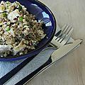 Salade de quinoa, boulgour, petit pois, feta et menthe