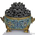 A rare and large cloisonn enamel censer with lotus and the characters shou and wan, China, Ming dynasty, carved hardwood cover.